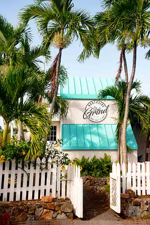 View of the new sign at Northside Grind at Flamboyan on the Bay St. Thomas, USVI