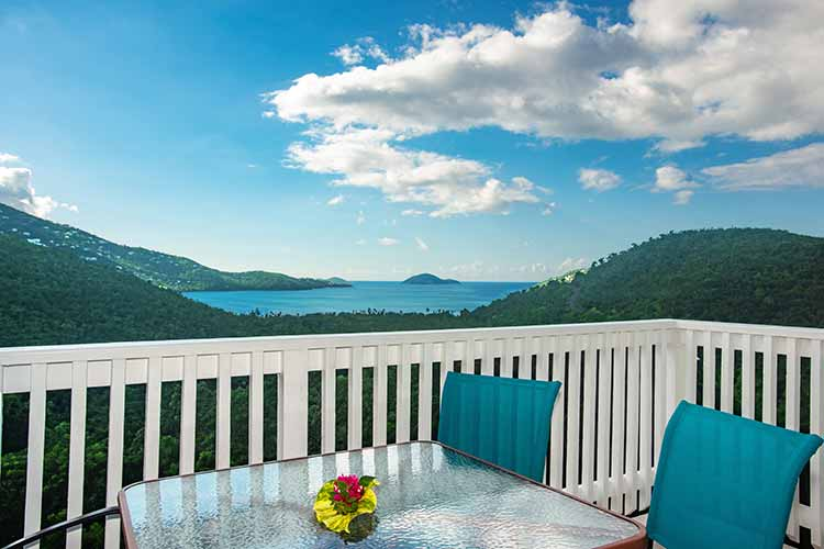 view of mages bay from deck at Flamboyan on the Bay USVI