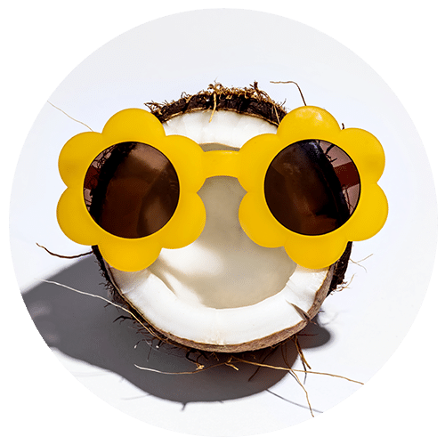 a round photo of a half of a coconut wearing yellow sunglasses shaped like flowers