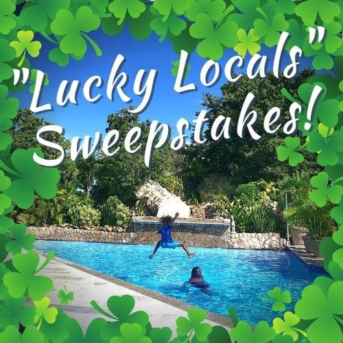 illustrated shamrock border surrounds a photo of a young boy jumping into a pool midair with the words lucky local sweepstakes written above