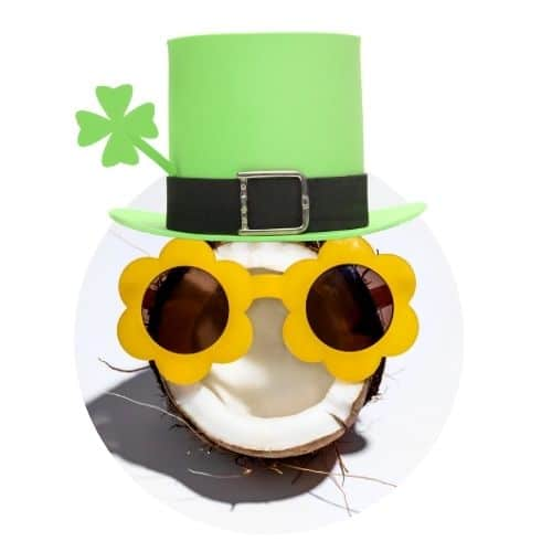 image of half a coconut wearing yellow flower sunglasses and a leprechaun hat.
