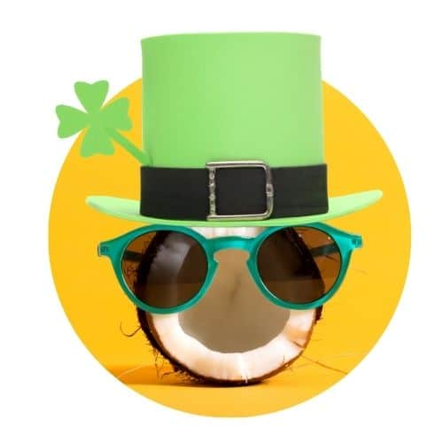 image of half a coconut wearing blue rimmed sunglasses and a leprechaun hat with a yellow background