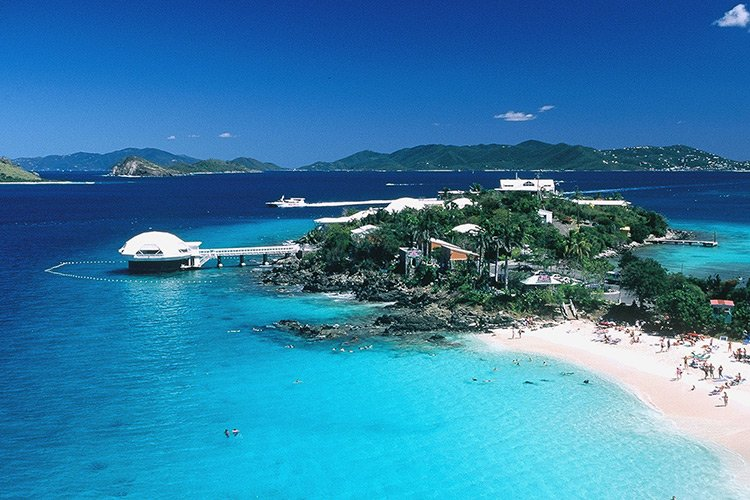 view from a drone of coral world and smith bay in st thomas usvi