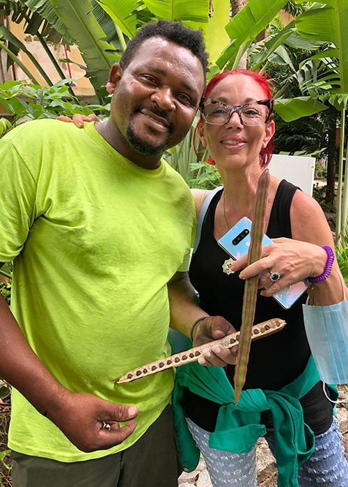 a gardener show a moringa seed to a guest at flamboyan on the bay both are smiling at the camera