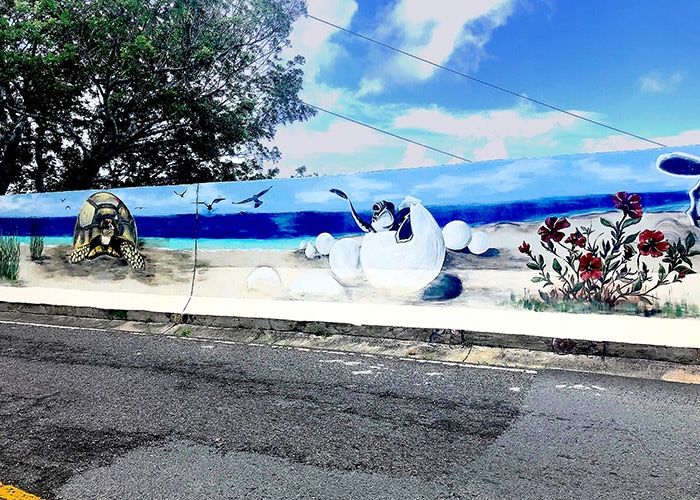 a mural of a sea turtle next to a young hatching sea turtle on the beach