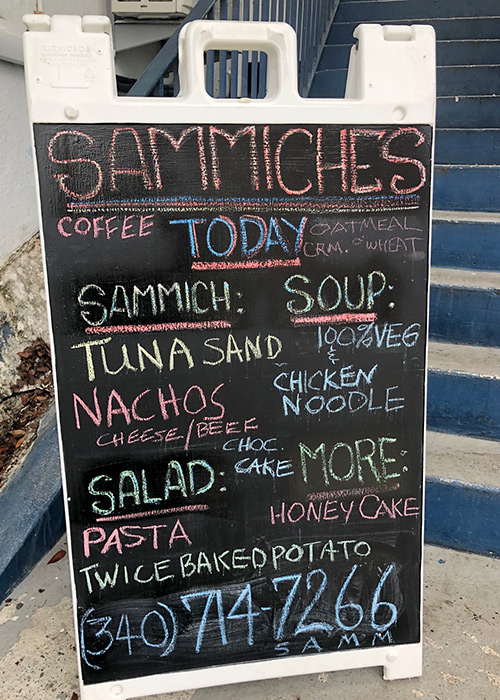 the blackboard for sammiches showcasing their specials for the day