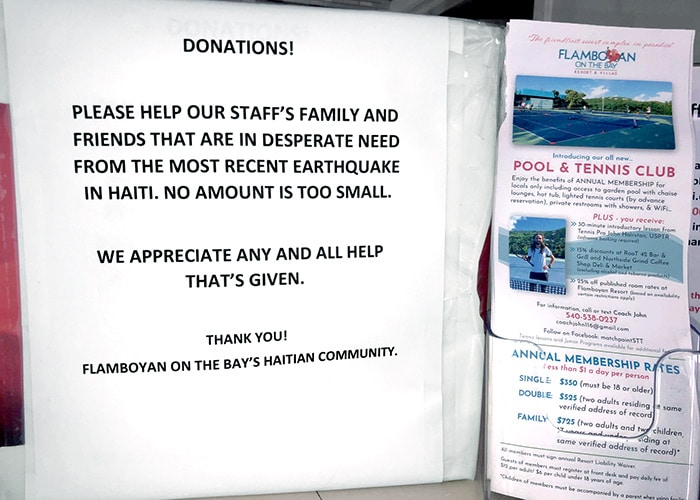 the donation box for haitian relief from earthquake