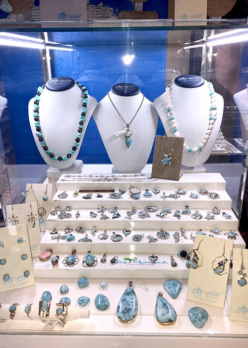 Larimar display of necklaces and pendants