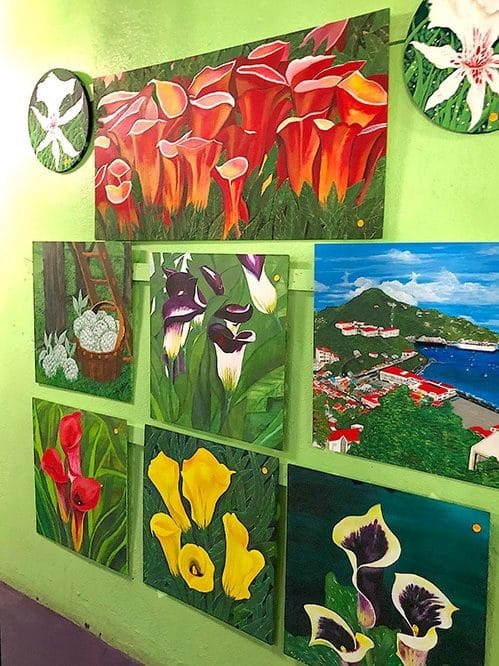 painting of flowers displayed at e's tea house