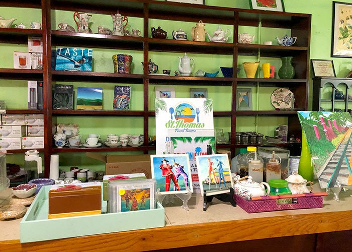 gifts for sale are displayed at e's teahouse