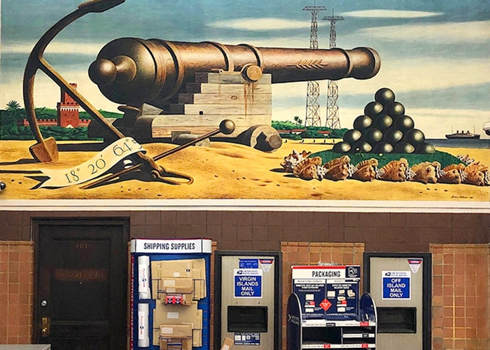 mural of a cannon and cannon balls inside the post office in Charlotte Amalie ST. thomas