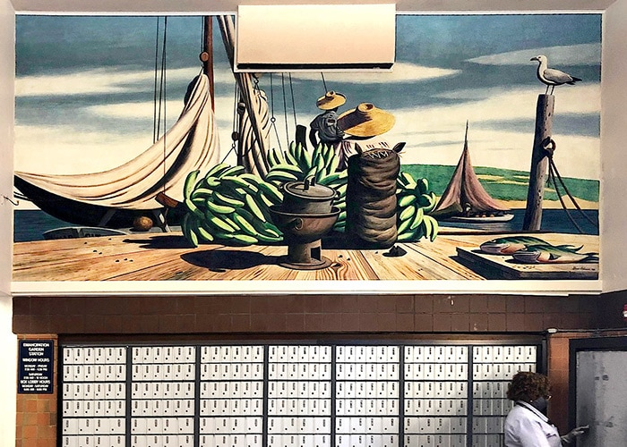 mural of a sail boat and people selling bananas on a dockinside the post office in Charlotte Amalie ST. thomas