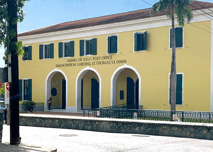 exterior of the alvaro de lugo post office in st thomas usvi