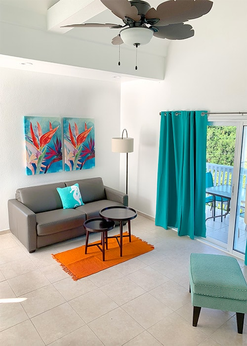 the inside of a suite at flamboyan on the bay st thomas usvi